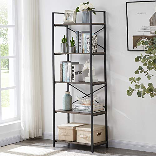 OIAHOMY Industrial Bookshelf 5Tier Bookcase and Bookshelves Vintage Bookshelf with Metal Frame Rustic Organizer Shelving Unit Multipurpose Storage Display Rack for Home and Office  Oak Grey