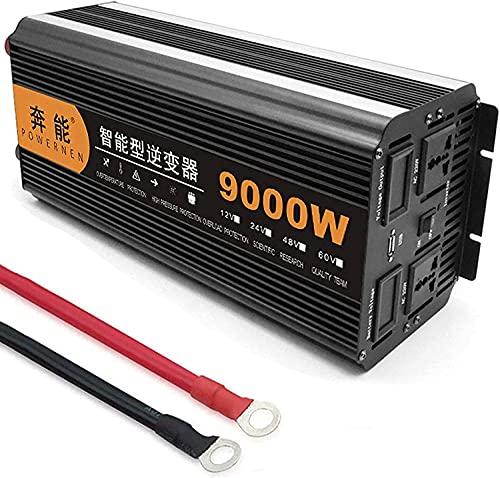 Inversor de Corriente Onda Sinusoidal Pura 8000W 9000W Transformador de DC 12V 24V 48V a AC 220V 230V 240V con Control Remoto Inalámbrico, 2 Toma de Corriente Alterna y 1 Puerto USB (9000W,12V)
