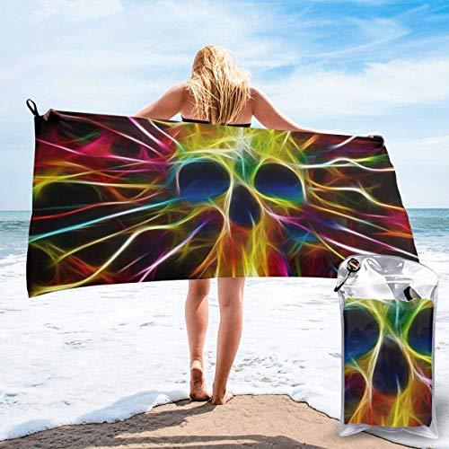 Toallas de Playa de Antiarena de Microfibra para Hombre Mujer, 130x80cm, Toallas Baño Calidad Gigante Secado Rapido para Piscina, Manta Playa, Toalla Yoga Deporte Gimnasio,Cráneo Trippy Abstracto