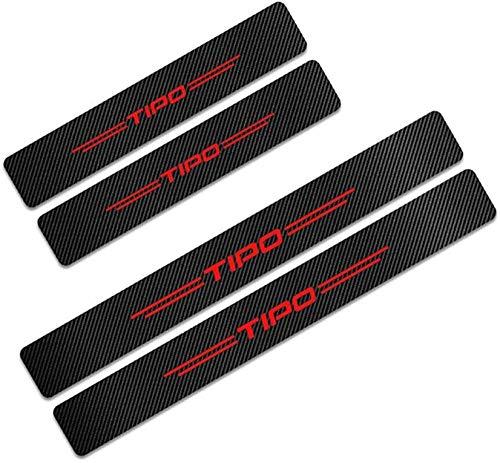 HZHAOWEI 4Pcs Car Door Sill Guard Protector Scuff Kick Plate, per Fiat Tipo Fibra di Carbonio Step Pedal Stickers Strips Cover Trim con Logo Insig