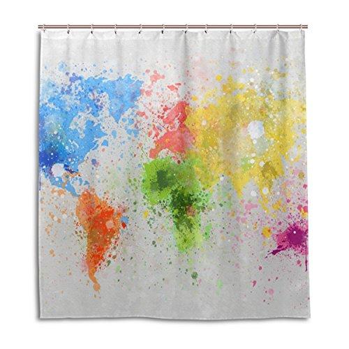 jstel Decor Duschvorhang Weltkarte Gemälde Muster Print 100prozent Polyester Stoff 167,6x 182,9cm für Home Badezimmer Deko Dusche Bad Vorhänge mit Kunststoff Haken
