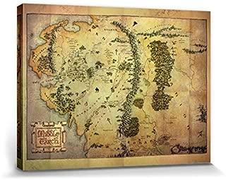 1art1 El Señor De Los Anillos - Mapa De La Tierra Media Cuadro, Lienzo Montado sobre Bastidor (80 x 60cm)