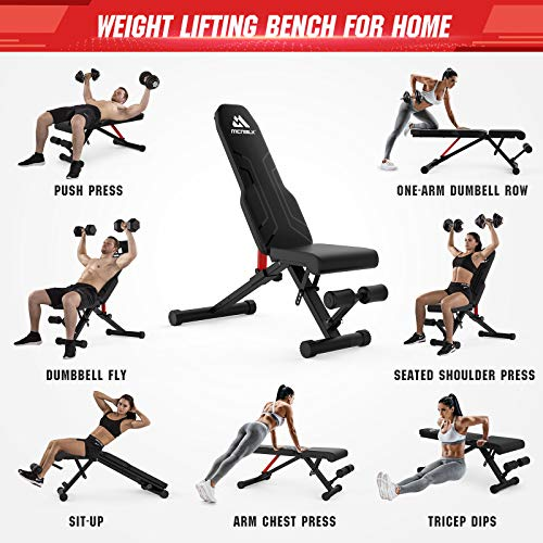 Weight Bench for Full Body Foldable Workout Bench 650lbs, MCNBLK Adjustable Workout Bench Press for Home Gym Strength Training Benches - Sit Up Bench Incline Decline Flat 8 Positions Resistance Bands