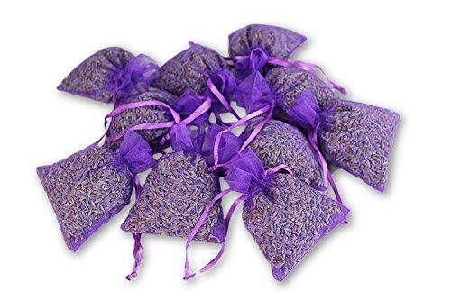 ASVP Shop 10 x Lavendelsäckchen mit echtem französischen Lavendel - Insgesamt 100g Lavendelblüten als Duftsäckchen