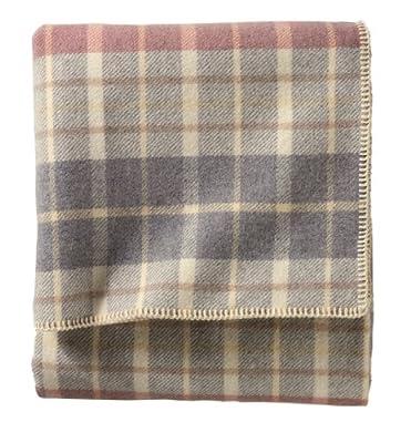 Pendleton - Eco-Wise Washable Wool Blanket, Blush / Grey Plaid, King