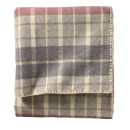 Pendleton Eco-Wise Wool Washable Queen Plaid Blanket, Blush/Grey