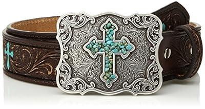 M&F Western Girl's Scroll Embroidery Turquoise Cross Belt (Little Kids/Big Kids) Brown 24