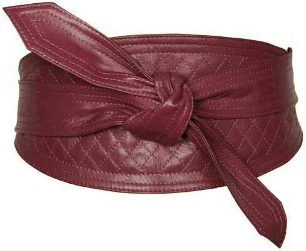 Woman's Daily bargain sale Genuine Maroon Leather Obi Sash Wrap Tie Corse Size Finally resale start Plus