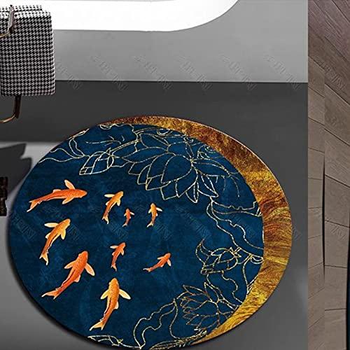 CMX-BOX Alfombras de área Azul clásica Redonda para la Tienda de hoteles de Interior Tienda de Modos Dormitorio de la Cama de la cabecera Mats de Yoga Antideslizante Mat - 80cm 100cm 120cm 160cm