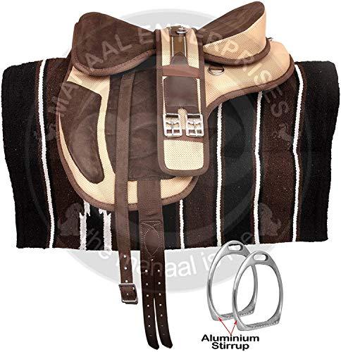 Deen, Enterprises Synthetic Treeless FREEMAX Englischer Pferdesattelhalter, frei passender Umfang, Lederriemen, Aluminiumbügel, Navajo-Sattelunterlage, Sitzgröße 14 bis 18 Zoll