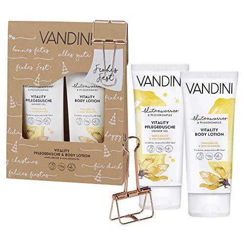 VANDINI Geschenkset mit XXL Papierklammer, VITALITY Pflegedusche und Bodylotion (2x200ml) - Vanilleblüte & Macadamiaöl