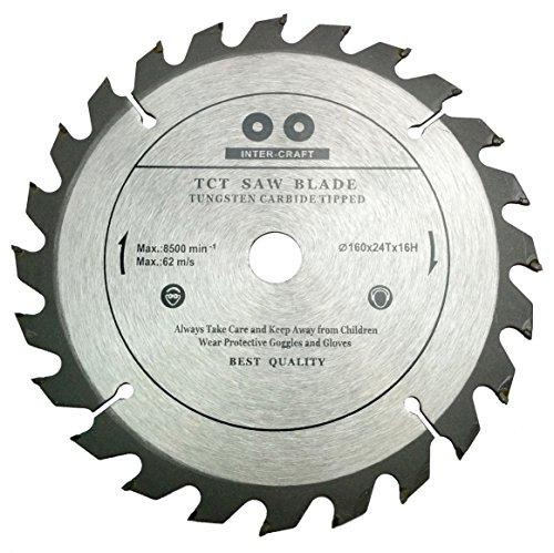 Inter-Craft Hoja de sierra circular para madera (160 mm, 160 x 16 mm, 24 dientes)