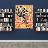 WDDHOME Gorra de béisbol para jóvenes Retrato de Mujer Africana Hermosa Dibujada Gorras Divertidas para Hombre Obra Estirada Gruesa de 1,5 Pulgadas Lista para Colgar Decoración de Pared sobre Lienzo