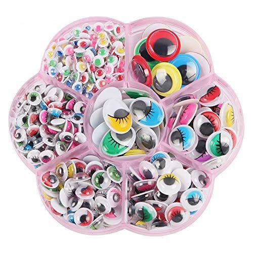Sooair Kunststoff Sicherheit Augen, Augen zum Aufkleben, 400 Stück Wackelaugen Puppenaugen Kunststoffaugen Selbstklebend für DIY Puppe, Marionette Plüschtier Teddybär