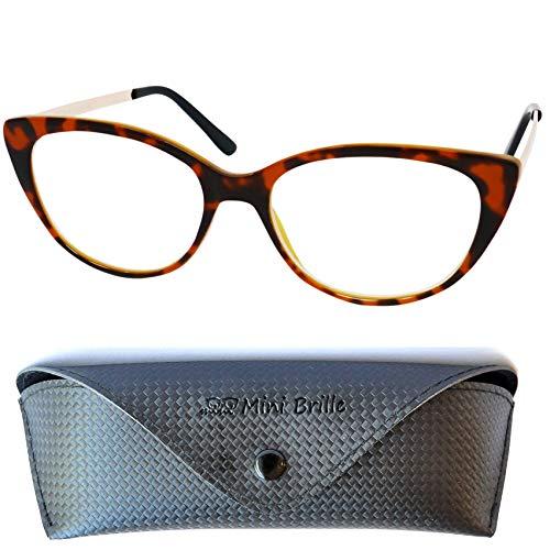 Gafas de Lectura de Ojos de Gato con Grandes Lentes - Funda de Gafas Incluida GRATIS, Montura de Plástico (Tortoise Marrón) con Patillas de Acero Inoxidable Para Leer Para Mujer +2.5 dioptrías