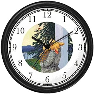 Mommy & Baby Bunny Rabbit Looking at Red Necked or Throated Hummingbird in Tree - from Hush Little Baby by Artist: Sylvia Long Wall Clock by WatchBuddy Timepieces (Hunter Green Frame)