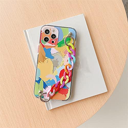 Funda de teléfono de lujo con pulsera de arcoíris para iPhone 12 Mini XR X XS Max 7 8 Plus 11 Pro Max SE 2020 Cubierta de cadena suave pintada con graffiti, estuche y pulsera A1, para iPhone SE 2020
