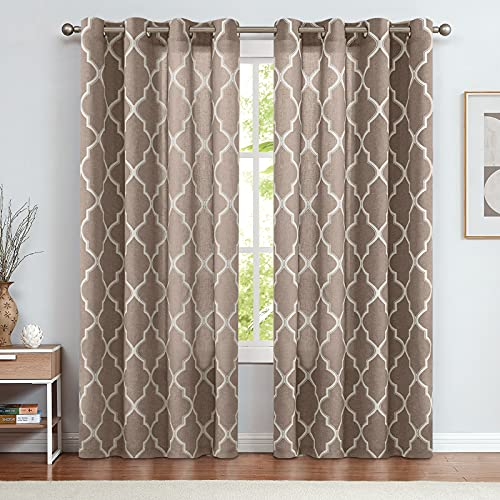 """jinchan Curtains Taupe Linen Living Room Drapes Light Filtering Moroccan Tile Print Window Treatment for Bedroom Curtain Flax Textured Geometry Lattice Grommet Dining Room 50"""" W x 84"""" L 2 Panels"""