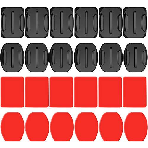 Neewer 24 Piezas Pegatina Adhesiva Almohadilla para Casco - 12 Monturas Planas y 12 Planas para GoPro Hero 7 6 5 4 3+ 3 2 SJ4000 5000 6000 DBPOWER AKASO APEMAN Rollei Lightdow y Sony Sports DV y Más