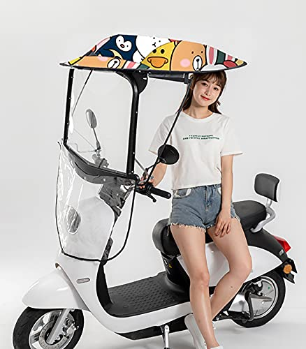 Paraguas Impermeable Doble Con Motocicleta Eléctrica Tabla De Motor Completamente Cerrada Umbrella Mobility Sun Shade And Rain Cover Universal Car Motor Scooter Umbre(Size:Coche con espejo retrovisor)