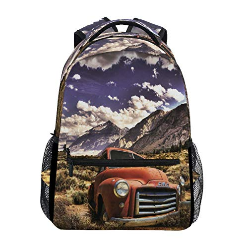 poiuytrew Farm Truck Backpack Students Shoulder Bags Travel Bag College School Backpacks