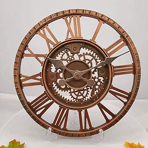 Reloj de jardín al aire libre Resistente a la intemperie, Reloj de pared romano vintage Relojes de pared al aire libre Adornos de resina Reloj de pared Resina al aire libre, 30 cm