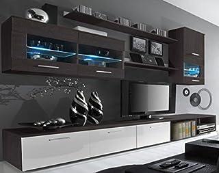 SelectionHome - Salón Moderno Comedor con Luces Leds Acabado en Blanco Brillo y Wengué Medidas: 250x190x42 cm de Fondo