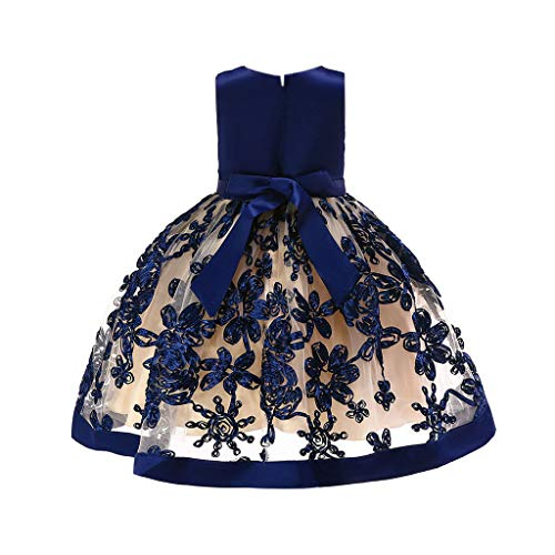 YWLINK MäDchen Prinzessin ÄRmellos Hohe Taille Retro Brautjungfer Kleid Stickerei Party Hochzeit Kleiden Mit Bogen GüRtel Abendkleid Elegant Klassisch(Marine,110)