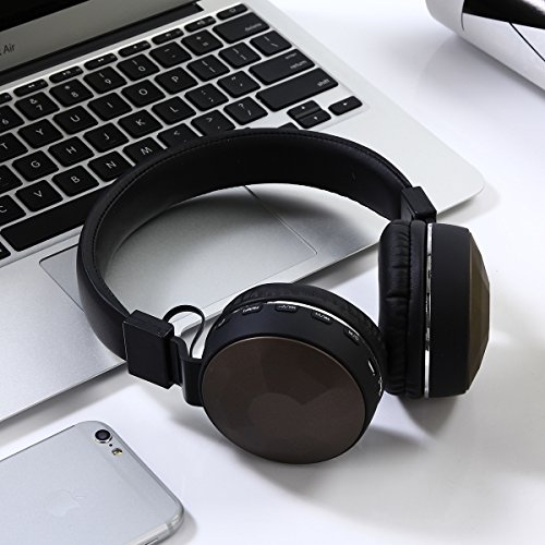 Headset wireless Bluetooth headset subwoofer mobile phone receiver headset Black Brown