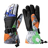 Ski Gloves, Warmest Waterproof and Breathable Snow Gloves for Mens,Womens,Ladies and Kids Skiing,for Parent Child Outdoor (Black, XS(Fit Kids 4-6 Years Old))