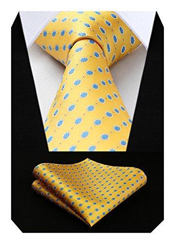 HISDERN Herren Krawatte Punkt Blumen Hochzeit Krawatte & Einstecktuch Set Gelb Blau