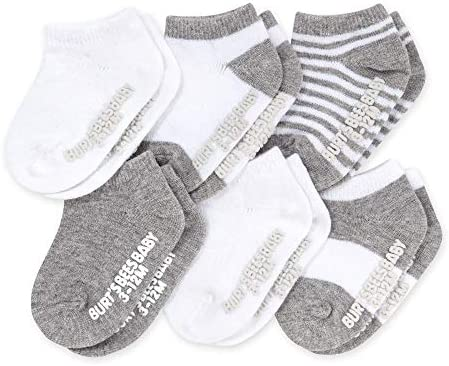 Burt s Bees Baby Unisex Baby 6 Pack Ankle Socks with Non Slip Grips Made with Organic Cotton product image