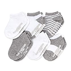 baby socks in gray and white