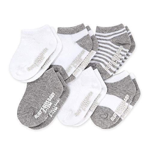 Burt's Bees Baby unissex para bebês, pacote com 6 meias de tornozelo com aderência antiderrapante, feitas com algodão orgânico, Cinza mesclado, multi, 0-3 meses