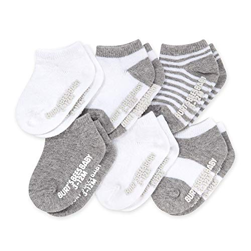 Burt's Bees Baby Baby, 6-Pack Ankle Socks with Non-Slip Grips, Made with Organic Cotton, Heather Grey Multi, 3-12 Months