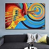 SQSHBBCPintura al óleo Abstracta Guitarra Obra de Arte Lienzo Pintura Carteles e Impresiones Arte de la Pared Imágenes Sala de Estar Decoración del hogar 20x30 Pulgadas Sin Marco
