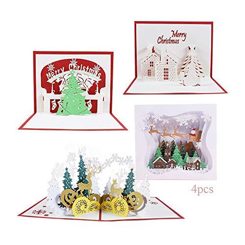 Anyingkai 4pcs Tarjetas de Navidad 3D,Tarjeta de Felicitación Comunion,Tarjetas de Navidad Pop Up,Tarjeta de Regalo de Chrismas,3D Pop Up,Navidad Tarjeta