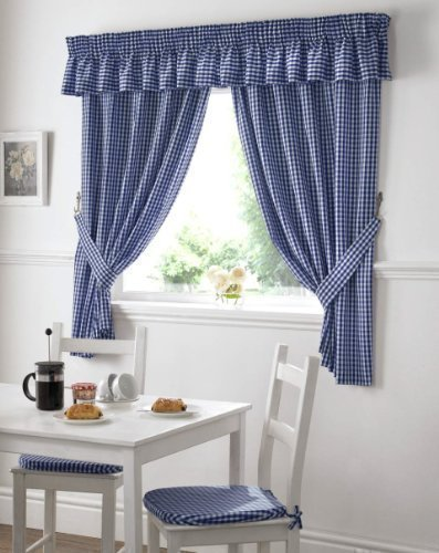 Cortina para la cocina - azul-blanca vichy-a cuadros - 117 cm x 122 cm - con pasador
