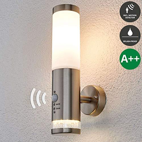 Lampenwelt Wandlamp buiten met sensor 'BINKA' bewegingssensor (modern) uit roestvrij staal - Buitenwandlamp sensor, wandlamp, wandlamp