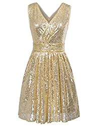 Sleeveless Short Sequin Gold Dress