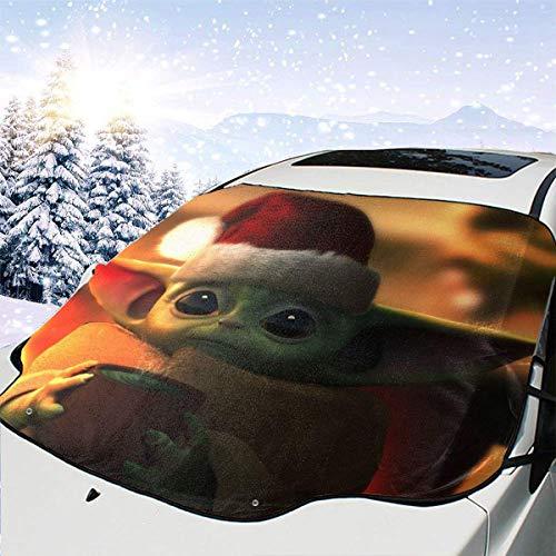 AEMAPE Star-War Baby Master multifunción para Parabrisas de Coche Cubierta de Nieve Parasol de Coche Impermeable Cubierta de Invierno para Hielo, Nieve, Escarcha, protección Solar - 147 x 118 cm