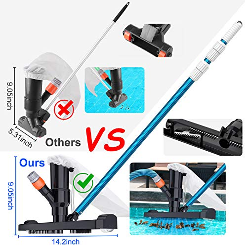 CKE Upgraded Pool Vacuum for Above Ground Pools Vacuum Head Accessories with Bag Brush and EZ Clip Handle 14
