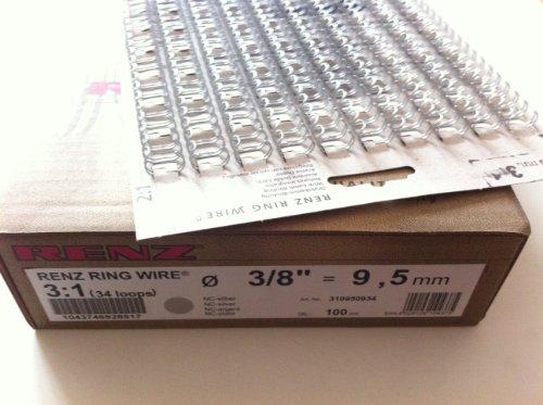Renz Ring Wire Drahtkamm-Bindeelemente in 3:1 Teilung, 34 Schlaufen, Durchmesser 9.5 mm, 3/8 Zoll, silber matt
