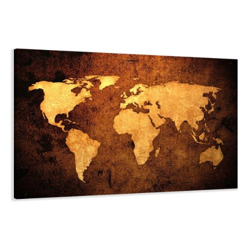 Visario Leinwandbilder 5162 Bilder auf Leinwand Weltkarte, 120 x 80 cm