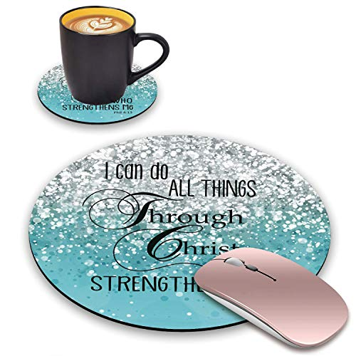 BWOOLL Round Mouse Pad and Coasters Set, Blue Glitter Mousepad, Inspirational Quotes Christian Bible Verse Phil 4-13 Mousepad, Non-Slip Rubber Base Mouse Pads for Laptop and Computer