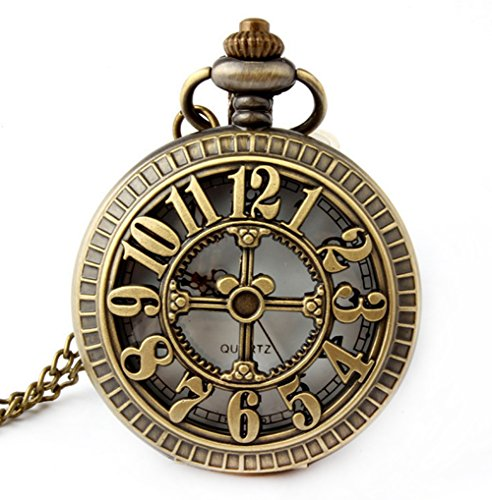 I-MART Retro Antique Bronze Pocket Watch with 31Inches Lobster Clasp Necklace Chain