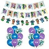 Lilo And Stitch Decoración de fiesta - Tomicy Stitch de cumpleaños Accesorios para fiestas de cumpleaños para niños con guirnalda de cumpleaños feliz, globos para decoraciones