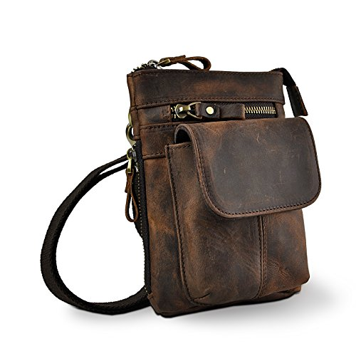 Le'aokuu Bolso de los hombres Pequeño bolso de viaje al aire libre Bolso de la cadera Cinturón Fanny bolso de la cintura Bolso Messenger de cuero de vaca Bolso retro 611-18 (611-18 A marrón)