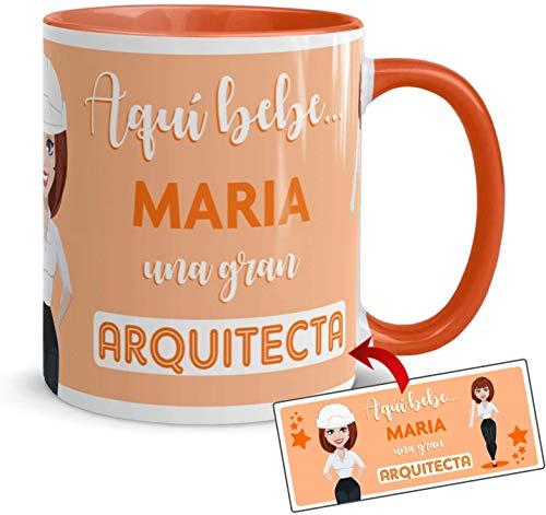 Kembilove Tazas de Café Personalizadas de Profesiones – Taza de Desayuno Aquí Bebe una Gran Arquitecta con Nombre Personalizado – Tazas de Desayuno para Profesionales – Tazas de 350 ml