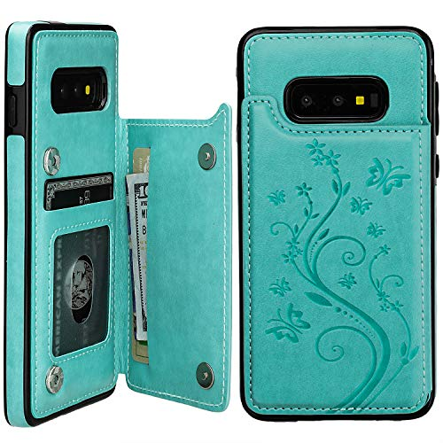 Vaburs S10e Case Wallet with Card Holder, Embossed Butterfly Premium PU Leather Double Magnetic Buttons Flip Shockproof Protective Case Cover for Samsung Galaxy S10e(Butterfly Mint Green)